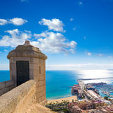 Alicante Postiguet beach  Santa Barbara Castle Stock Photo