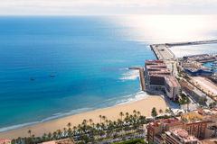 Alicante Postiguet beach view from Santa Barbara. Castle of Spain Stock Photography