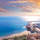 Alicante Postiguet beach view Santa Barbara Castle Royalty Free Stock Image