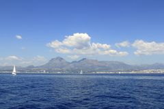 Alicante province white coast sailboat sailing Royalty Free Stock Images