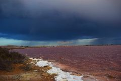 Alicante,salt lake,the salinas,natural park of the lagoons,pink lake,storm Stock Images