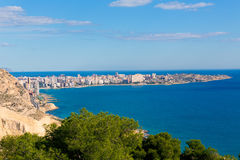 Alicante San Juan beach Santa Barbara Castle Royalty Free Stock Photo