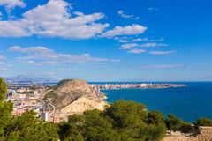Alicante San Juan beach view from Castle Stock Image
