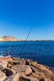 Alicante and san Juan fishing in breakwater Royalty Free Stock Photo