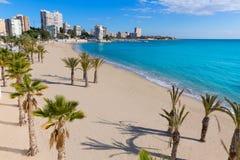 Alicante San Juan strand av La Albufereta royaltyfria foton