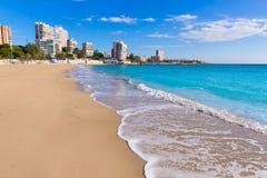 Alicante San Juan strand av La Albufereta arkivbilder