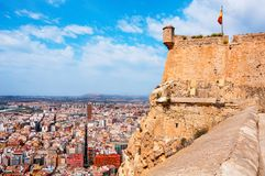 Alicante Santa Barbara castle in Costa Blanca Royalty Free Stock Photography