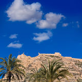 Alicante Santa Barbara castle in Mediterranean spain Stock Photos