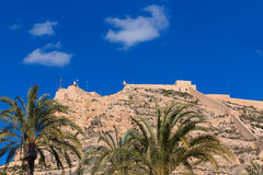 Alicante Santa Barbara castle in Mediterranean spain Royalty Free Stock Photography
