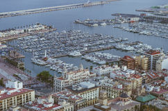 Alicante Santa Barbara castle with panoramic aerial view of the Royalty Free Stock Photo