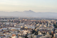 Alicante Santa Barbara castle with panoramic aerial view of the Royalty Free Stock Image