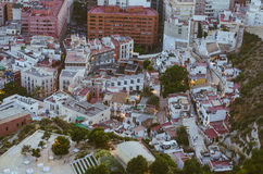 Alicante Santa Barbara castle with panoramic aerial view of the Stock Photos