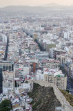 Alicante Santa Barbara castle with panoramic aerial view of the Stock Image