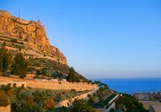 Alicante Santa Barbara Castle in Spain Royalty Free Stock Photos