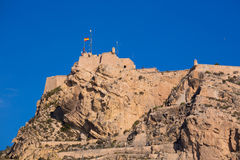 Alicante Santa Barbara castle in  spain Royalty Free Stock Images