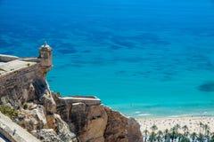 Alicante Santa Barbara Castle. Turquoise sea in Alicante, view from Santa Barbara castle Royalty Free Stock Images