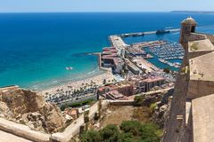 Alicante schronienie Spain od above Fotografia Stock