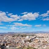 Alicante skyline aerial from Santa Barbara Castle Royalty Free Stock Image