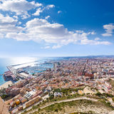 Alicante skyline aerial from Santa Barbara Castle Royalty Free Stock Photo