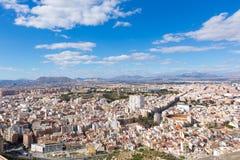 Alicante skyline aerial from Santa Barbara Castle Stock Photo
