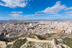 Alicante skyline aerial from Santa Barbara Castle Royalty Free Stock Images