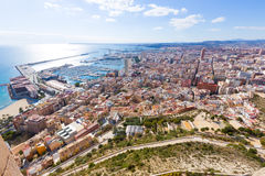 Alicante skyline aerial from Santa Barbara Castle Royalty Free Stock Image