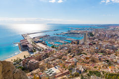 Alicante skyline aerial from Santa Barbara Castle Stock Photo
