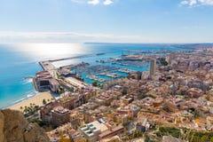 Alicante skyline aerial from Santa Barbara Castle. Alicante skyline aerial view from Santa Barbara Castle in Spain Stock Photo