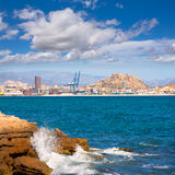 Alicante skyline downtown and port from Mediterranean Stock Photo