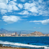 Alicante skyline downtown and port from Mediterranean Stock Image