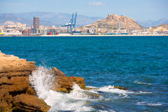 Alicante skyline downtown and port from Mediterranean Stock Photography