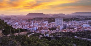 Alicante skyline at night, Spain city royalty free stock photography