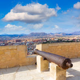 Alicante skyline and old canyons  Castle Stock Photography