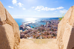Alicante skyline Santa Barbara Castle Spain Stock Images