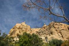 Alicante, spain, castle, santa Barbara, Balcony, Rocks, old,Trees stock image