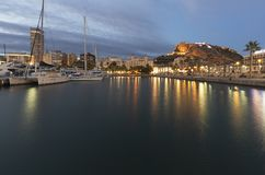 Port of Alicante during a cold winter sunset. Royalty Free Stock Photo