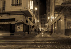 Alicante Spain gritty street and building scene at night long ex Royalty Free Stock Images