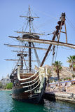 Alicante, Spain - June 30, 2016: Bow of the Santisima Trinidad ship. Ship is an exact replica of the Santisima Trinidad. Costa Blanca. Spain Stock Photo