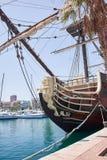 Alicante, Spain - June 30, 2016: Bow of the Santisima Trinidad ship. Ship is an exact replica of the Santisima Trinidad. Costa Blanca. Spain Royalty Free Stock Photo