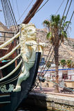 Alicante, Spain - June 30, 2016: Bow of the Santisima Trinidad ship. Ship is an exact replica of the Santisima Trinidad. Costa Blanca. Spain Royalty Free Stock Photography