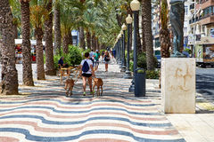 Alicante, Spain - June 30, 2016: The promenade Explanada of Spain in Alicante is paved with 6.5 million marble floor royalty free stock image