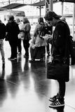 Passengers waiting for departure on platform of Alicante train station stock photography