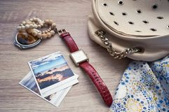 Lady's watch flat lay stock photography