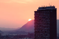 Alicante, Spain - SEPTEMBER 2015: View of the city at sunset Royalty Free Stock Photo