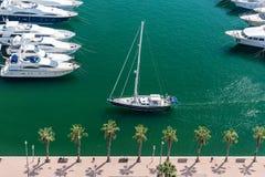 Alicante, Spain - SEPTEMBER 2015: Yacht in Marina Royalty Free Stock Photography