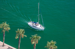 Alicante, Spain - SEPTEMBER 2015: Yacht in Marina Stock Photos