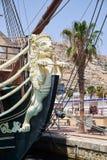 Alicante, Spanien - 30. Juni 2016: Bogen des Schiffs Santisima Trinidad Schiff ist eine genaue Replik des Santisima Trinidad lizenzfreie stockfotografie