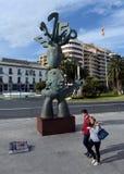 Alicante staden i Valensiysky den autonoma regionen, huvudstaden av landskapet av Alicante Skulpturen av spåman på Arkivbilder