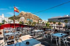 Alicante-Stadt Ansicht vom Café des Schiffs Lizenzfreies Stockfoto