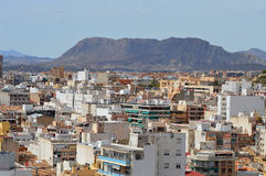 Alicante City Center - Town Under Mountains Foot Of Hills Royalty Free Stock Image